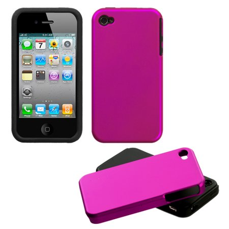 For iPhone 4s/4 Titanium Solid Hot Pink Fusion Protector Cover