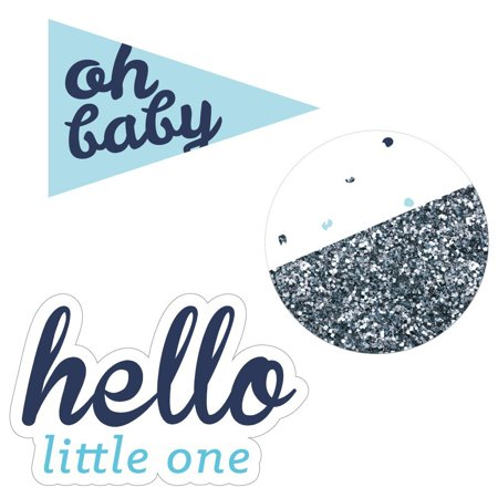 Hello Little One - Blue and Silver - DIY Shaped Boy Baby Shower Cut-Outs  - 24 Count
