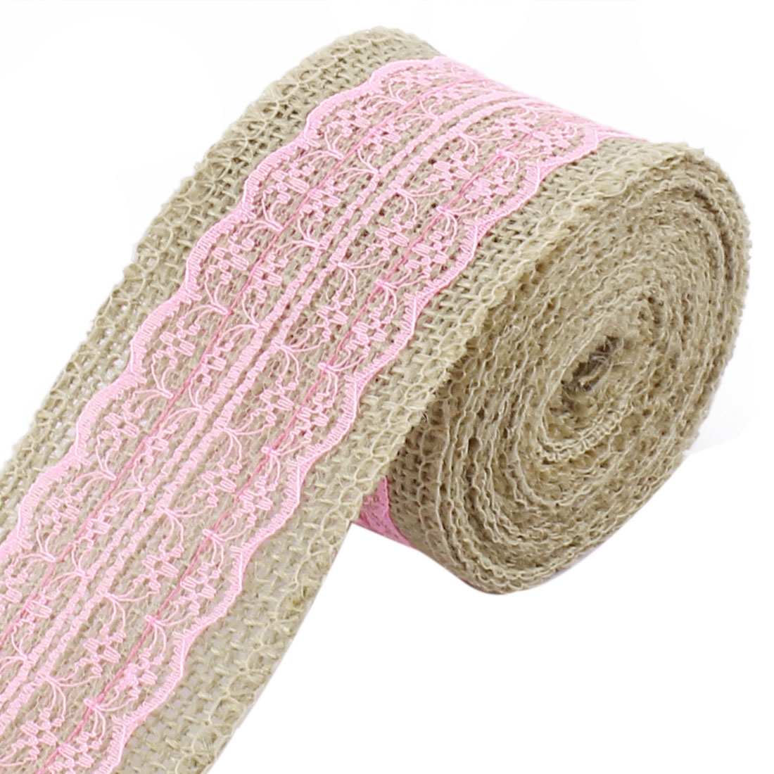 Unique Bargains Christmas Burlap DIY Gift Wrapping Packing Ornament Craft Ribbon Roll Pink