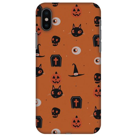 iPhone X Designer Case, Premium Halloween Handcrafted Printed Designer Hard ShockProof Case Back Cover for Apple iPhone X - Spooky Collage, Thin, Light Weight, HD Colour, Smooth Finish - Halloween Opening Hd