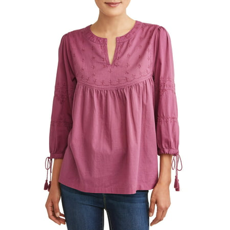1a88fe2ad513c Time and Tru - Women s Embroidered Neck Top - Walmart.com