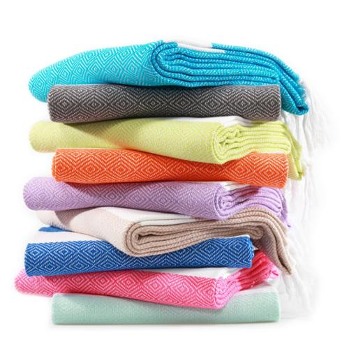 Authentic Hotel and Spa Authentic Pestemal Fouta Diamond Weave Turkish Cotton Bath/ Beach Towel