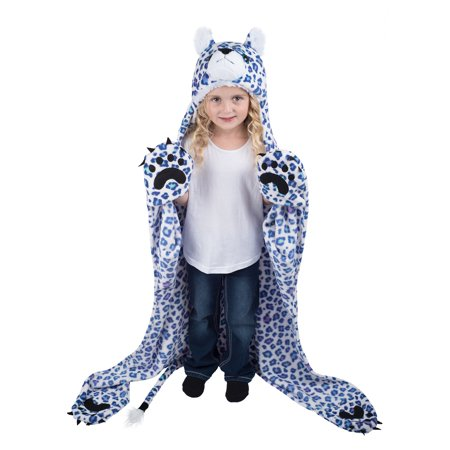 Wild Things Snow Leopard, Hooded Animal Blanket by Fin Fun