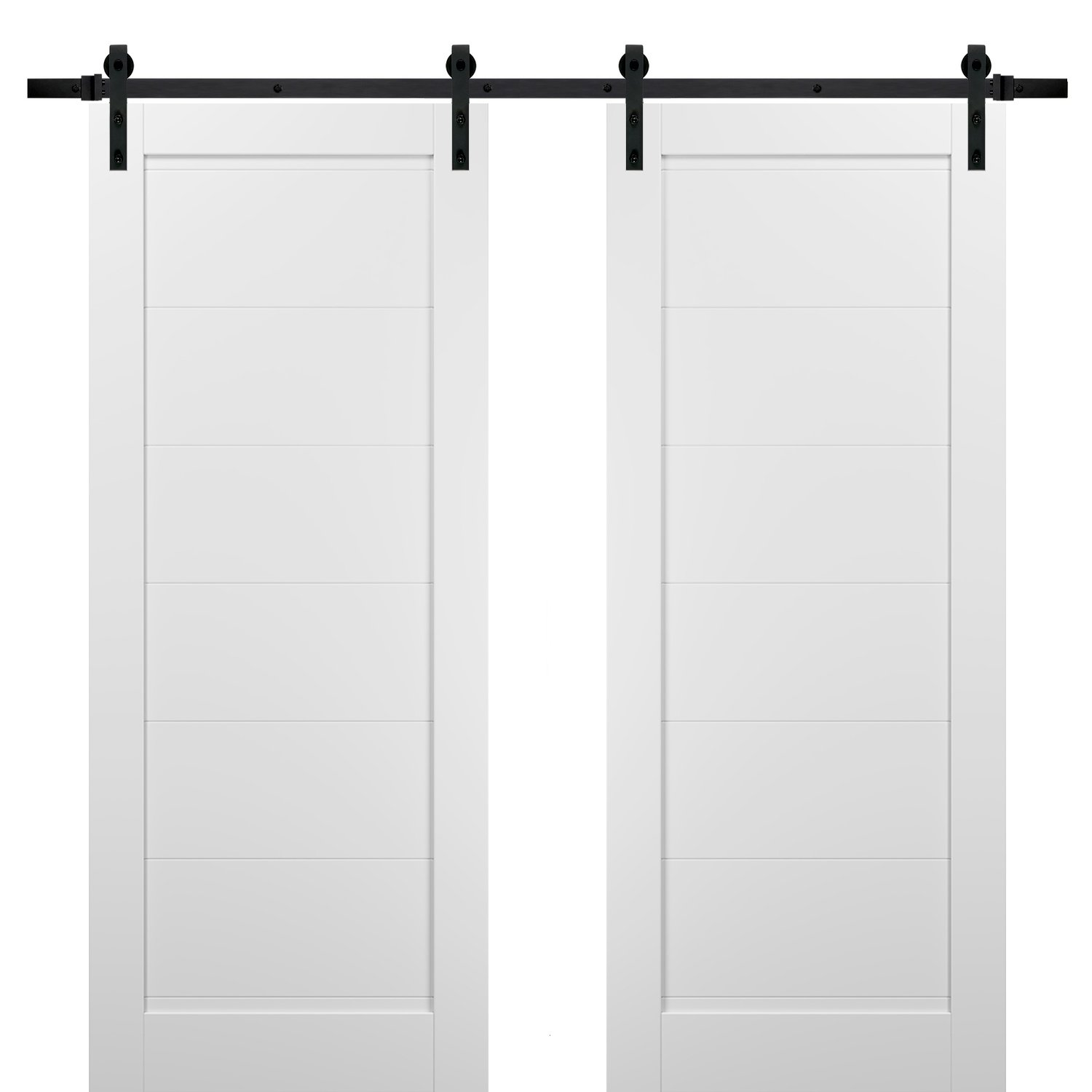 Top Mount 13FT Rail Sturdy Set Quadro 4055 White Silk with Frosted Opaque Glass Kitchen Lite Wooden Solid Panel Interior Bedroom Bathroom Door Sliding Double Barn Doors 36 x 80 with Hardware