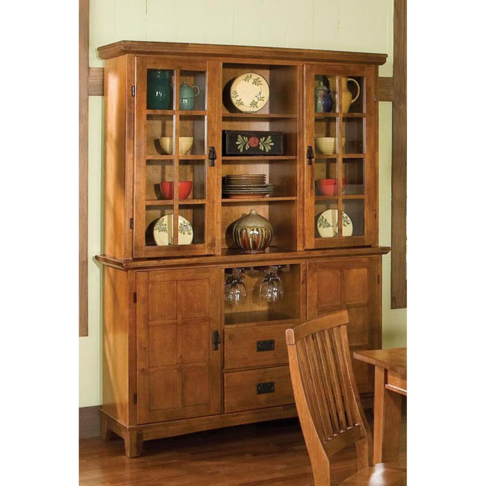 Arts and Crafts Buffet and Hutch Cottage Oak Finish - Walmart.com