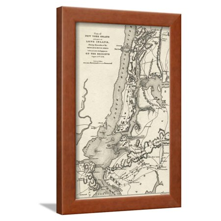 Map of the Battle of Brooklyn Heights and New York Framed Print Wall (Map Of Brooklyn New York Zip Codes)