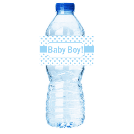 Blue Stars  Baby Boy Shower Party Decorations 15ct Water Bottle Sticker