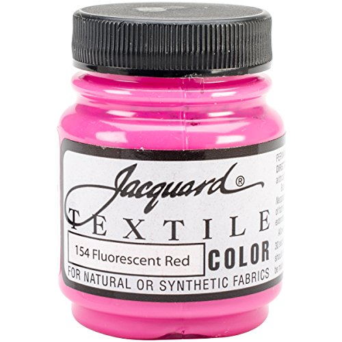 Jacquard Textile Color Fabric Paint, 2.25-Ounce, Fluorescent Red Multi-Colored
