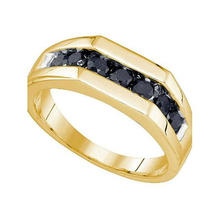 10kt Yellow Gold Mens Round Black Color Enhanced Diamond Wedding Band Ring 1.00 Cttw - image 2 de 2