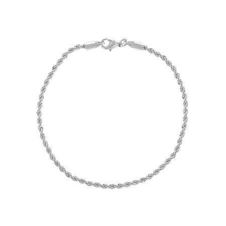 """Silver Plated Thin Cord Braided Rope Chain Women Bracelet 7"""""""