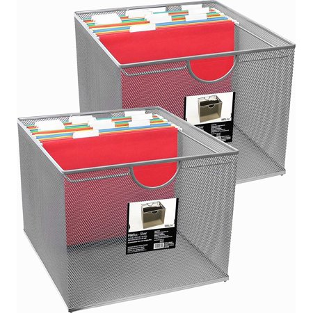 Neat Life Mesh Office File Organizer Storage Box with Side Hanging Rails – Silver (2 Pack)