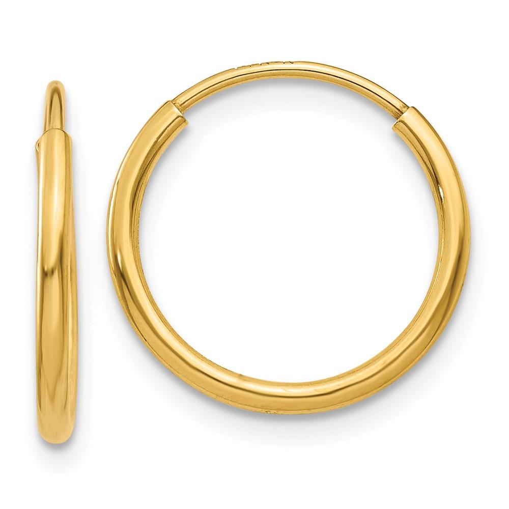 14k Yellow Gold 1.25mm Endless Hoop Earring (13mm Diameter)