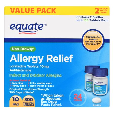 Equate 24 Hour Allergy Relief Loratadine Tablets, 10 mg, 300 Ct