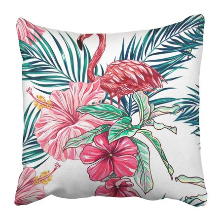 ARTJIA Blue Leaf Pink Flamingos Tropical Flowers and Palm Leaves Hibiscus Beautiful Floral Jungle Pattern Pillowcase 16x16 inch (Pink Hibiscus)