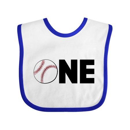 One Baseball First Birthday Baby Bib