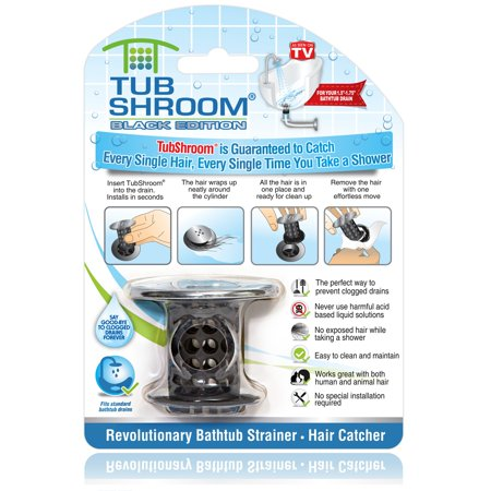 TubShroom Chrome Edition Revolutionary Tub Drain Protector Hair Catcher, Strainer, Snare, Black Chrome Tub Drain Assembly