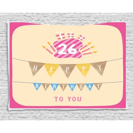 26th Birthday Decorations Tapestry, Anniversary Flag with Best Wishes Message Life Modern Print, Wall Hanging for Bedroom Living Room Dorm Decor, 60W X 40L Inches, Peach Hot Pink, by