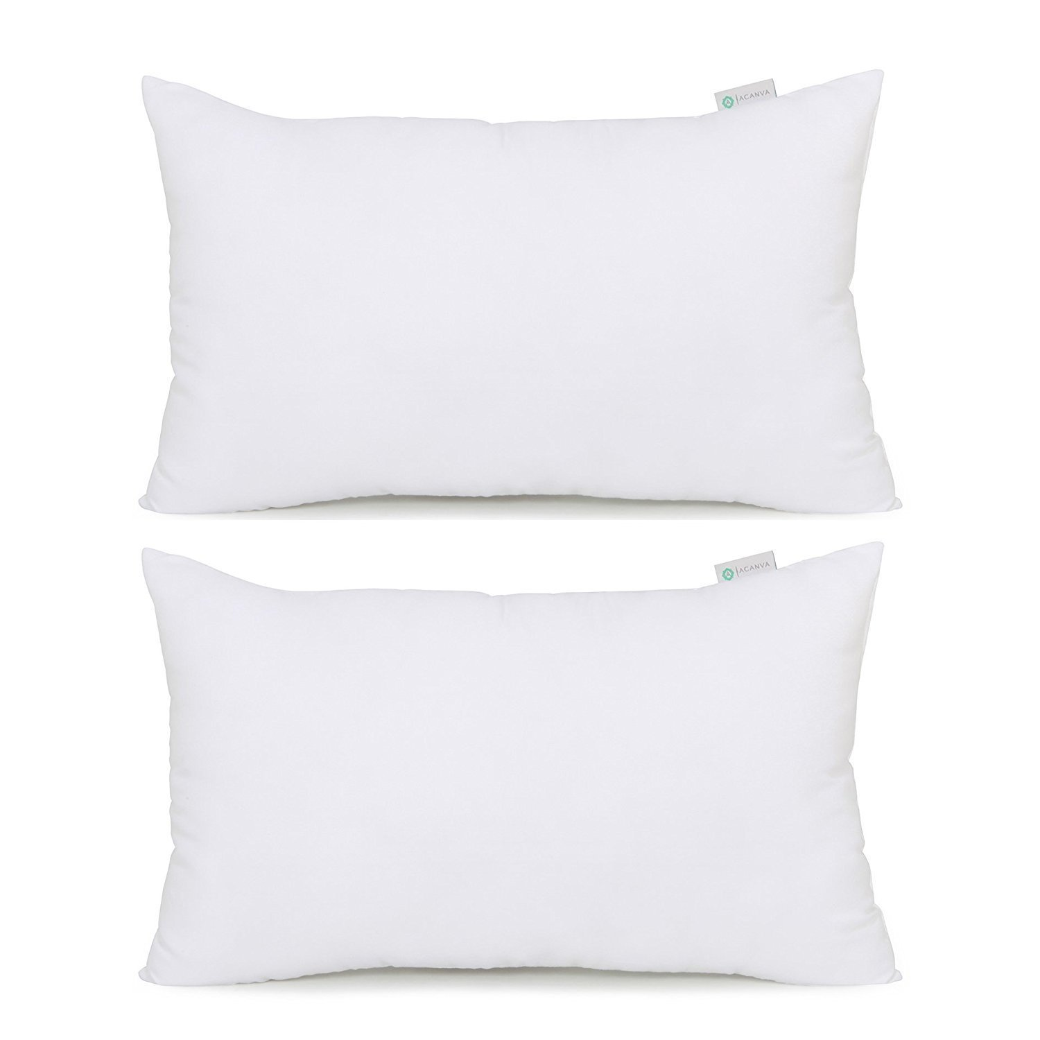 "Image of Acanva Hypoallergenic Pillow Insert Form Cushion Sham, Oblong Rectangle, 12"" L x 20"" W, Set of 2"