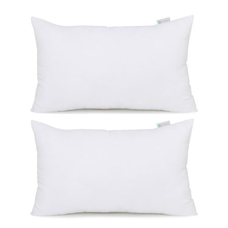 Acanva Hypoallergenic Pillow Insert Form Cushion Sham, Oblong Rectangle, 12