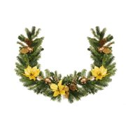 """6"""" x 12"""" Pre-Decorated Gold Poinsettia, Ornament and Pine Cone Artificial Christmas Garland - Unlit"""