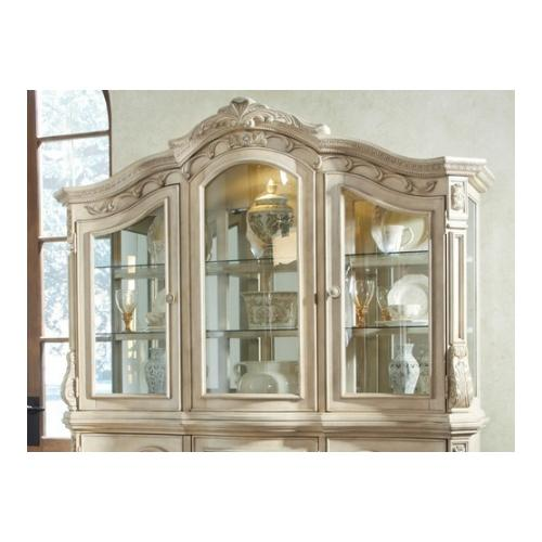Ashley  D70781 Ortanique Hutch with Mirrored Back  Ash Swirl  Birch Veneers and Asian Hardwoods in Antique White