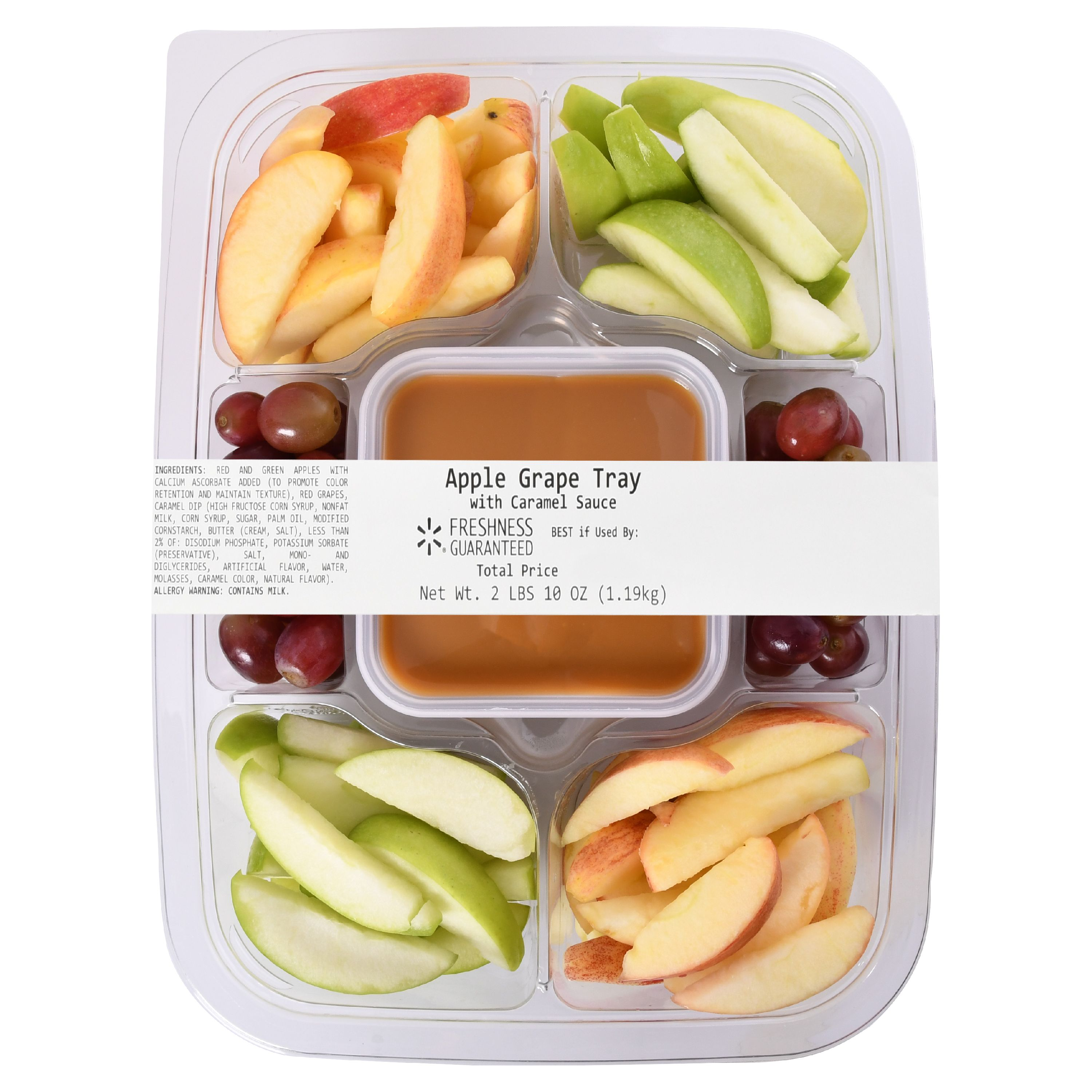 Freshness Guaranteed Apple and Grape Tray with Caramel Sauce, 42 oz