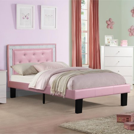 Wooden Full Bed With Pink Tufted Head Board, Pink Finish