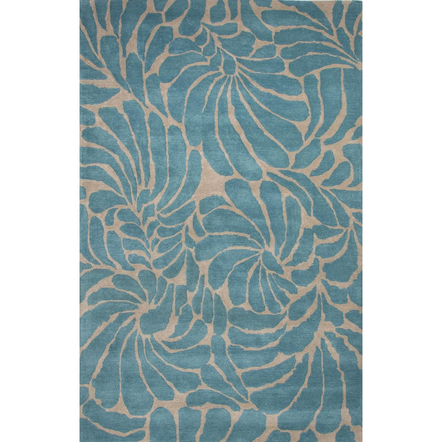 2' x 3' Aqua Crest and Sandstone Swirls New-fashioned Floral Hand Tufted Wool Area Throw Rug