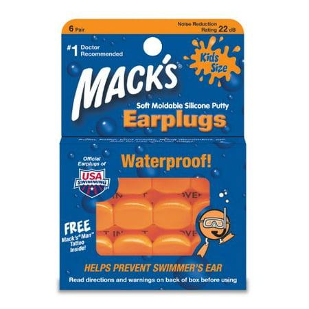 Mack's 10 Pillow Soft Ear Plugs - Kid Size Swimming Waterproof Pack 6