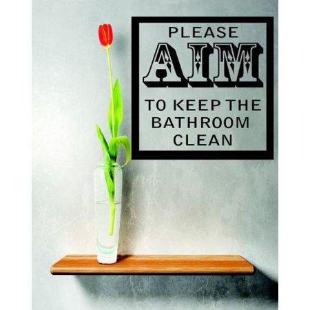 Vinyl wall decal sticker please aim to keep bathroom for Please keep bathroom clean