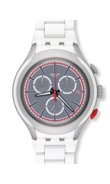 Swatch WHITE ATTACK Aluminium Chronograph Mens Watch YYS4019AG by Swatch