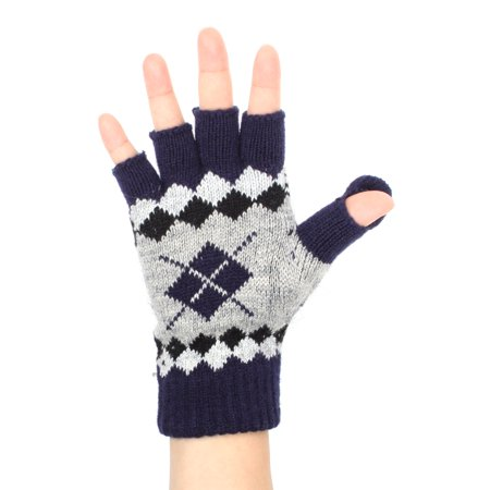 Warm and Cozy Argyle Flip Top Convertible Mitten / Fingerless Gloves with Split Covered Thumb - NAVY