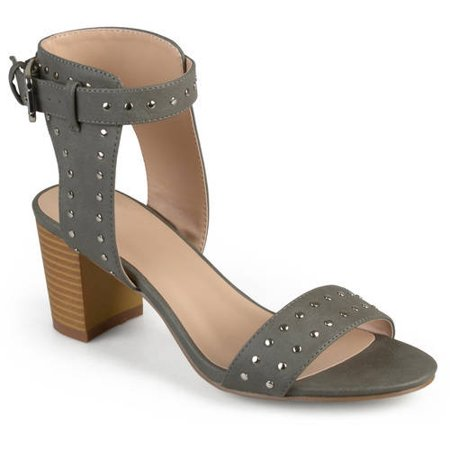 Womens Faux Leather Studded Ankle Strap High Heel (Brown Leather 4 Heels)