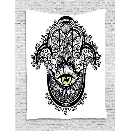 Evil Eye Tapestry  Vivid Illustration All Seeing Eye Energy Fantasy Magic Religious Talisman  Wall Hanging For Bedroom Living Room Dorm Decor  40W X 60L Inches  Black Yellow White  By Ambesonne