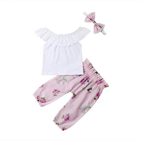 3PCS Newborn Baby Girls Lace T-shirt Floral Pants Headband Outfit Set Clothes (Girls Kilt Outfits)