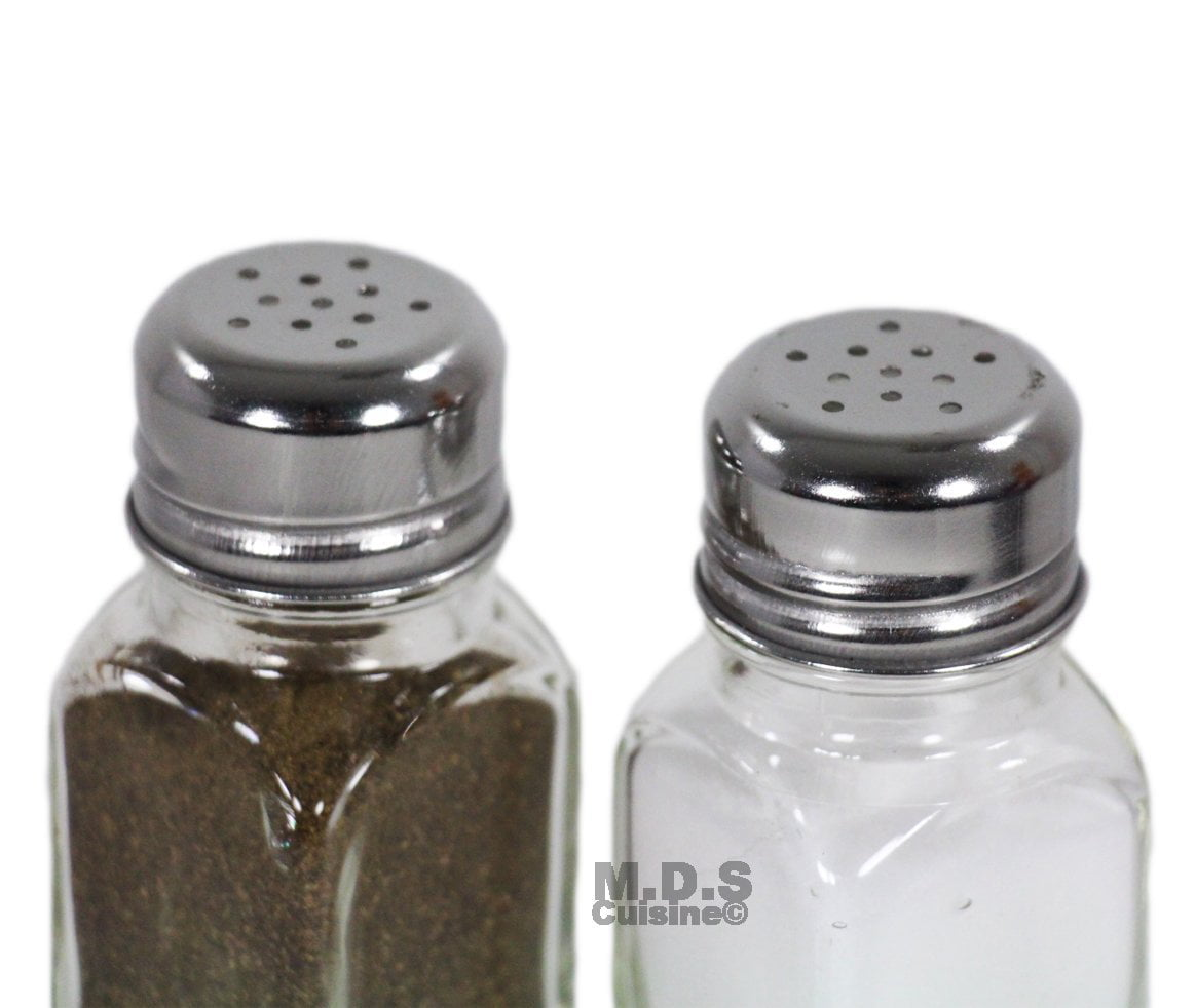 Salt & Pepper Shaker Set of 2 Stainless Steel and Clear Glass Classic Shakers by Smarty Cooks
