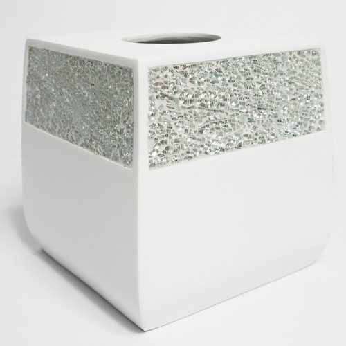 Sweet Home Collection Luster Cracked Glass Bath Tissue Box Cover