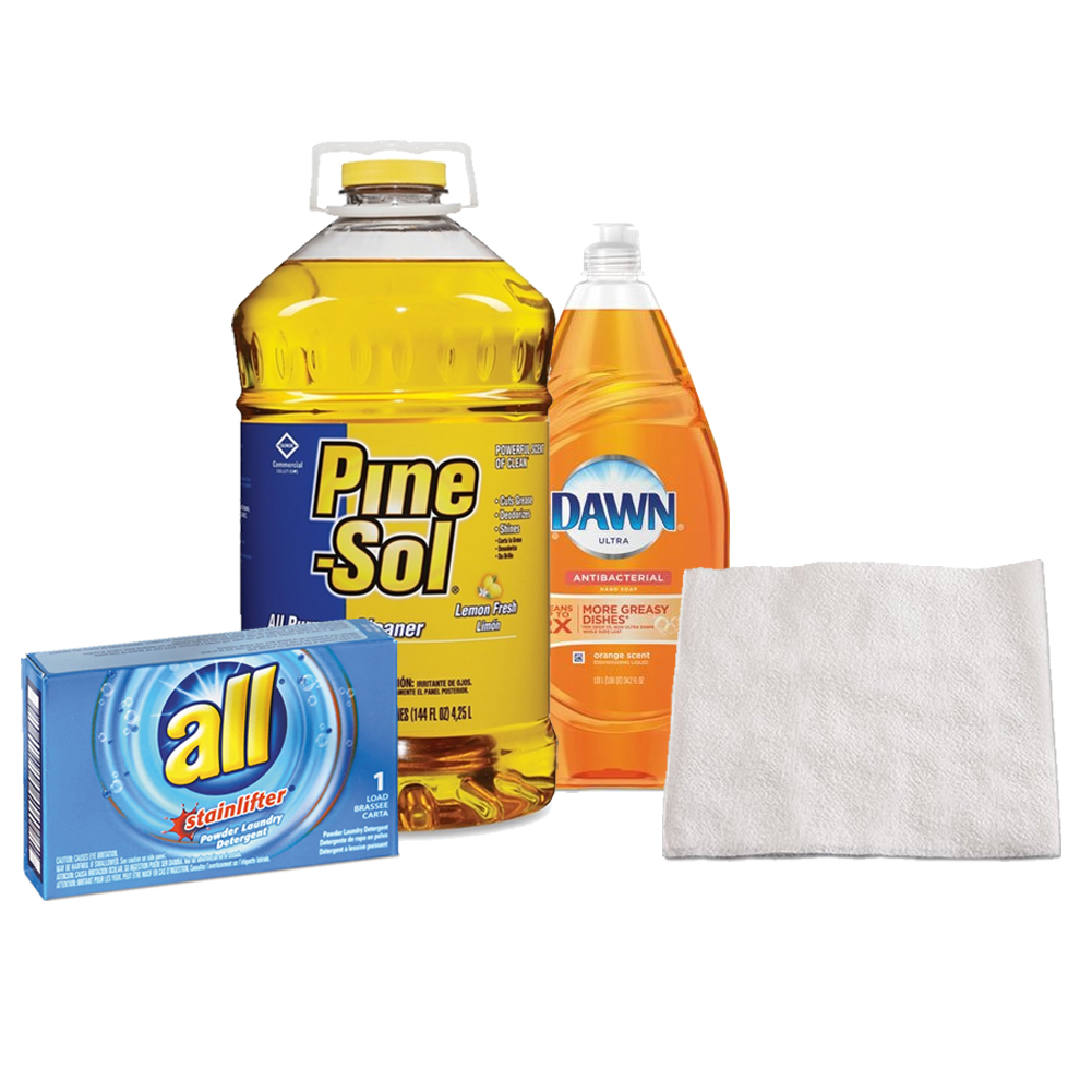 Pine-Sol Multi-Surface Cleaner, 144 Oz + Clorox Lemon Fresh Pine-Sol All Purpose Cleaner + Boardwalk Luncheon Napkins, White, Ply + GILLETTE COMMERCIAL OPER NA DETERGENT