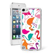 For Apple iPod Touch 5th / 6th Generation Hard Back Case Cover Colorful Flamingos Pattern (White)