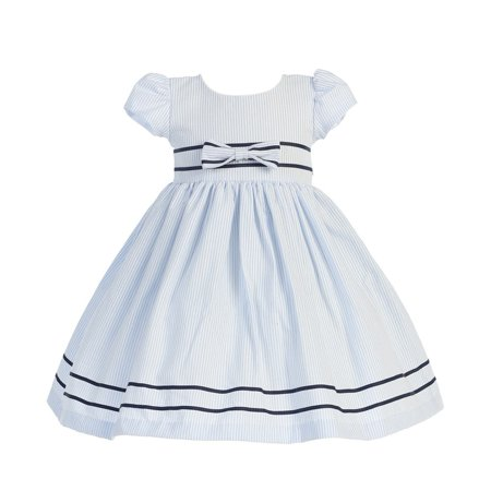 Light Blue Stripe Short Sleeve Seersucker Easter Dress Girls 3M-4T - Girls Light Blue Dress