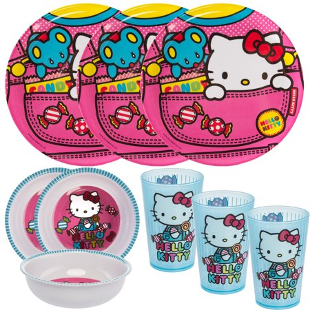 Zak! (9pc) Hello Kitty Kids Mealtime Sets Plastic Plate, Bowl, Cup, Party Supplies Tableware, 3 Sets of 3](Kids Party Plates And Cups)