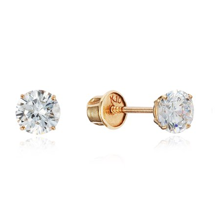 10k Yellow Gold 4mm Basket Round CZ Cubic Zirconia Solitaire Children Screw Back Baby Girls Earrings