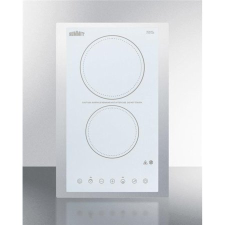 Summit CREK2W 230V 15 in. Wide 2 Burner Cooktop, White Ceramic -