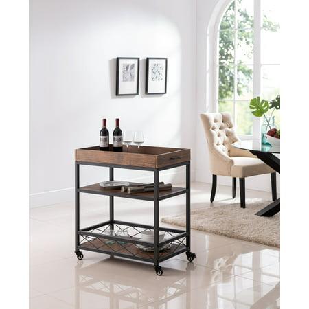 Phenomenal Hemingway Kitchen Serving Cart Black Metal Frame Walnut Unemploymentrelief Wooden Chair Designs For Living Room Unemploymentrelieforg