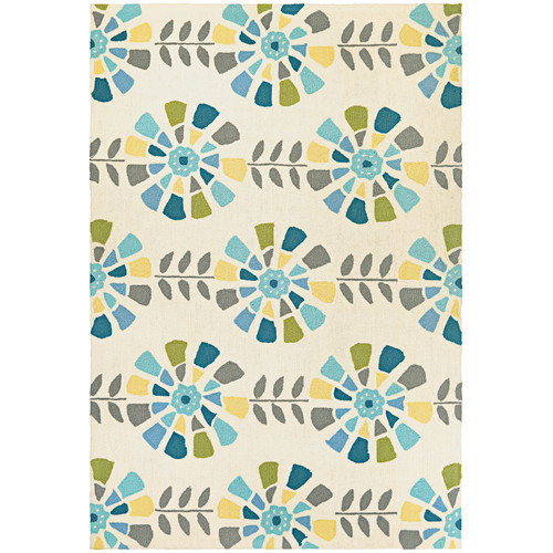 Couristan Beachfront Flower Bloom Rug In Multi-Ivory - (2 Foot x 4 Foot)