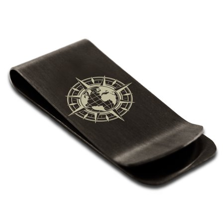 Stainless Steel Nautical Global Compass Engraved Money Clip Credit Card Holder