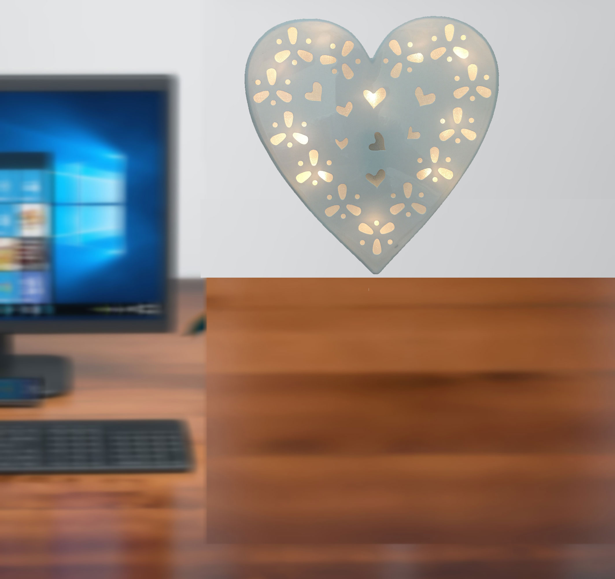Creative Motion Lighted Heart Love Hanging Desk Top Battery-Operated 10 Light Warmwhite LED Heart Light with White PVC Holographic Paper; Product Size: 9.44x 9.84x 0.78