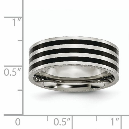 Stainless Steel 8mm Black Plated Striped Wedding Ring Band Size 7.00 Fashion Jewelry Gifts For Women For Her - image 6 de 10