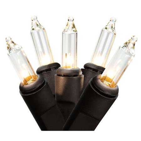 Black Wire Christmas Lights - Set of 50 Clear Mini Christmas Lights 2.5