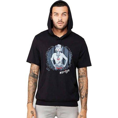 Men's Marilyn Monroe Cowgirl Black Short Sleeve Hoodie T-Shirt X-Large Black